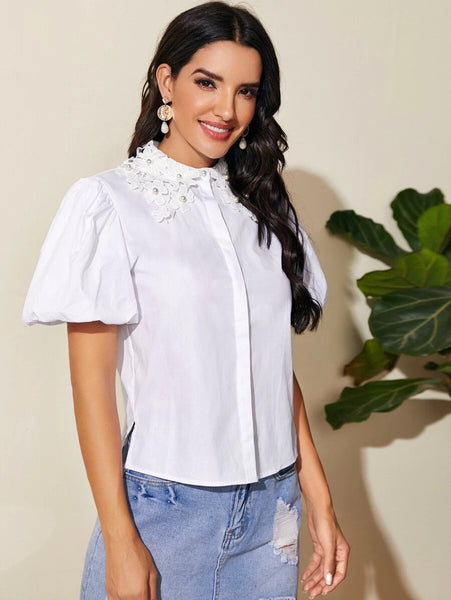 CM-TS513518 Women Elegant Seoul Style Summer Pearls Applique Puff Sleeve Blouse - White