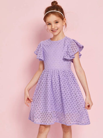 CM-KDS514490 Girls Elegant Round Neck Butterfly Sleeve Lace A-Line Dress - Purple