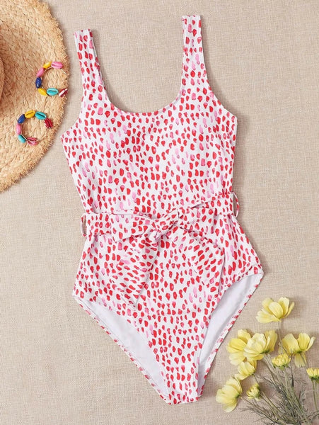 CM-SWS520016 Women Trendy Seoul Style Allover Graphic Belted One Piece Swimsuit - Red