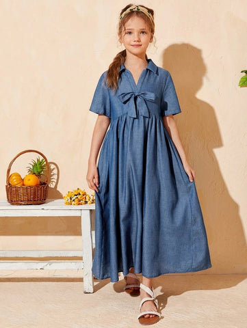 CM-KDS410083 Girls Charming Short Sleeve V-Collar Knot Detail Smock Long Dress - Blue