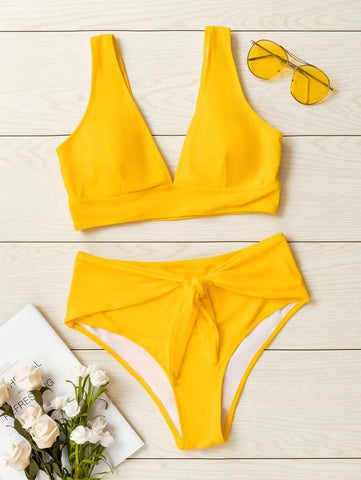 CM-SWS525197 Women Trendy Seoul Style Knot Front High Waisted Bikini Swimsuit - Yellow