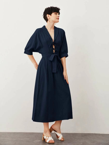 CM-DS520032 Women Casual Seoul Style Half Sleeve Shawl Collar Lace Up Front Belted Dress - Navy Blue