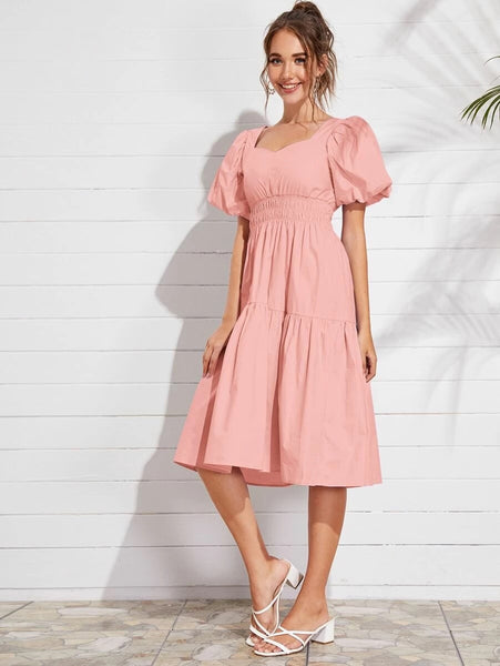 CM-DS528832 Women Trendy Seoul Style Bishop Sleeve Shirred Waist Solid Midi Dress - Pink