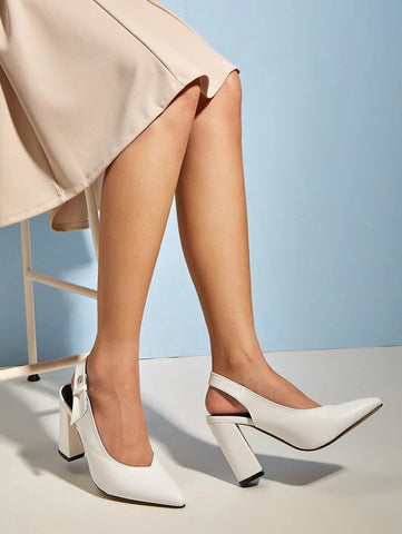 CM-SH052861 Women Elegant Seoul Style Solid Pointed Toe Ladies Chunky Heels - White