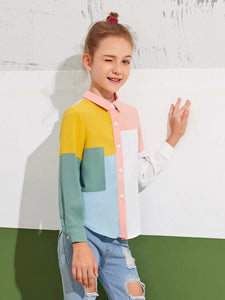 CM-KTS520881 Girls Casual Long Sleeve Collar Curved Hem Colorblock Blouse