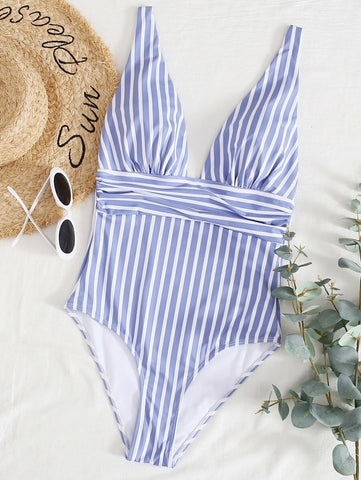 CM-SWS603151 Women Trendy Seoul Style Striped Print One Piece Swimsuit - Blue