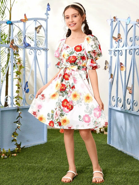 CM-KDS513216 Girls Trendy Bohemian Style Gathered Sleeve Belted Floral Print Dress