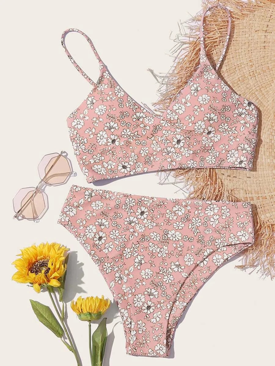 CM-SWS610598 Women Trendy Seoul Style Ditsy Floral High Waisted Bikini Swimsuit - Pink