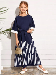 CM-KDS506053 Girls Casual Round Neck Bell Sleeve Self Belted Striped Maxi Dress - Navy Blue