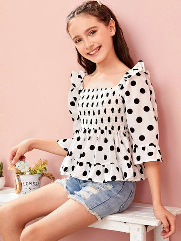 CM-KTS525824 Girls Charming Square Neck Flounce Sleeve Shirred Polka Dot Peplum Top - White