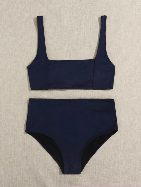 CM-SWS617962 Women Trendy Seoul Style Seam Detail High Waisted Bikini Swimsuit - Navy Blue