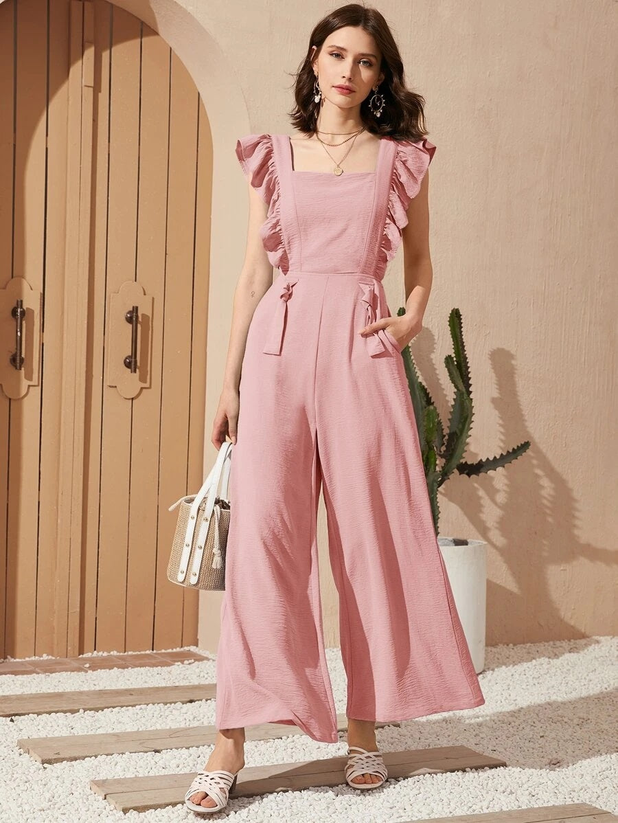 CM-JS424413 Women Casual Seoul Style Sleeveless Ruffle Trim Cutout Back Wide Leg Jumpsuit - Pink