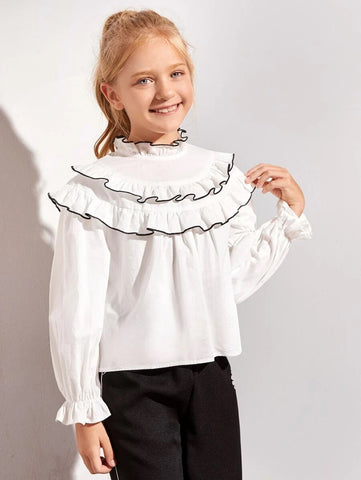 CM-KTS609502 Girls Charming Long Sleeve Keyhole Back Ruffle Trim Top - White
