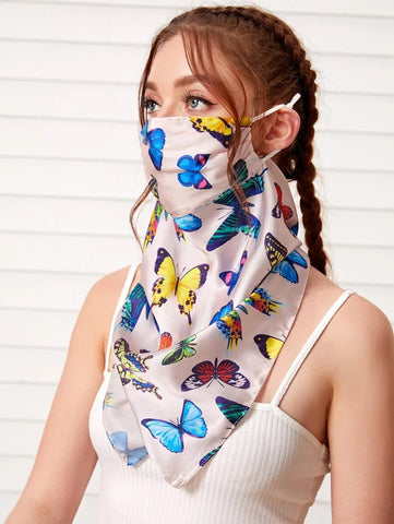 CM-FS519765 Women Butterfly Pattern Silk Scarf Mask