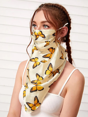 CM-FS529316 Women Butterfly Pattern Silk Scarf Mask - Yellow