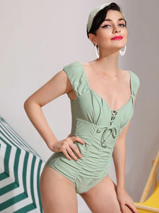 CM-SWS708800 Women Trendy Seoul Style Lace-Up Front Ruched One Piece Swimsuit - Mint Green