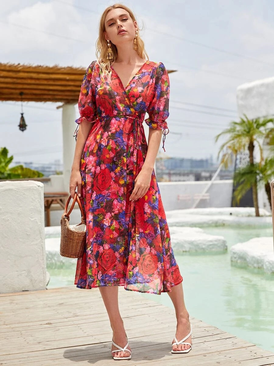 CM-DS702541 Women Trendy Bohemian Style Allover Floral Print Knot Side Wrap Dress