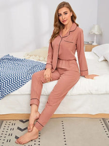 CM-PS818600 Women Casual Seoul Style Contrast Piping Pocket Patched Pajama Set