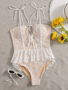 CM-SWS903838 Women Trendy Seoul Style Floral Lace Ruffle Hem Knot One Piece Swimsuit - White