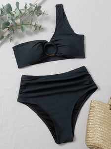 CM-SWS907855 Women Trendy Seoul Style Ring Linked One Shoulder Ruched Bikini Swimsuit - Black