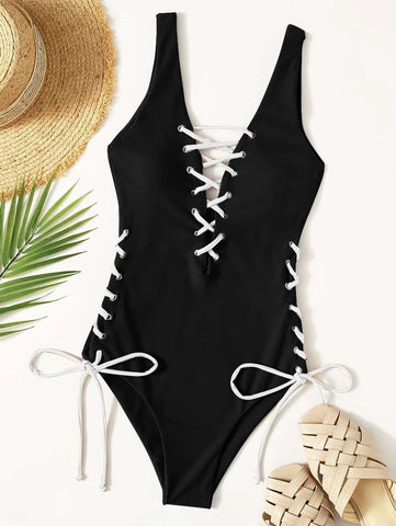 CM-SWS918258 Women Trendy Seoul Style Lace-Up One Piece Swimsuit - Black