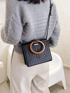 CM-BGS012483 Women Trendy Seoul Style Braided Ring Handle Satchel Bag - Black
