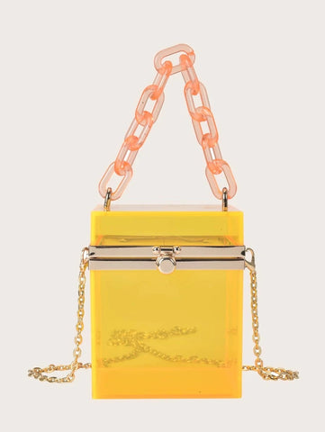 CM-BGS022047 Women Trendy Seoul Style Mini Clear Box Bag - Yellow