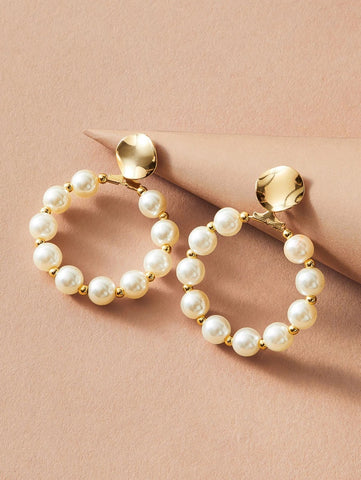 CM-AXS110859 Women Trendy Seoul Style Faux Pearl Drop Earrings