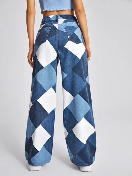 CM-BS116502 Women Casual Seoul Style High Waist Argyle Print Wide Leg Jeans
