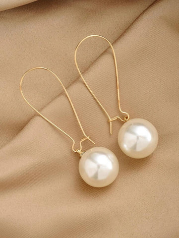 CM-AXS201646 Women Trendy Seoul Style Faux Pearl Decor Earrings - Gold