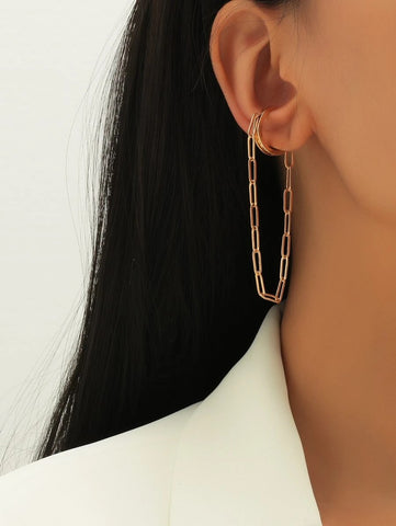 CM-AXS203583 Women Trendy Seoul Style Chain Drop Ear Cuff - Gold