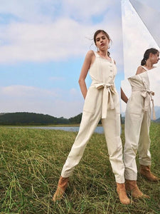 CM-JS120297 Women Trendy Bohemian Style Stitch Button Placket Belted Overall Jumpsuit - Beige