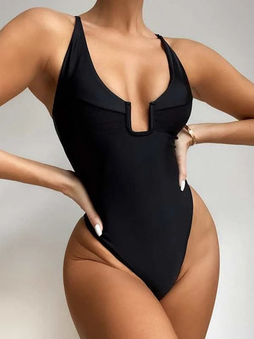 CM-SWS225099 Women Trendy Seoul Style U Wired One Piece Swimsuit - Black