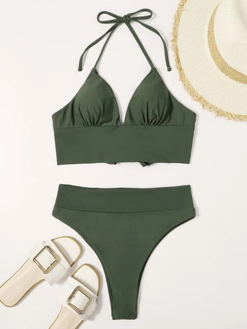 CM-SWS128599 Women Trendy Seoul Style Halter High Waisted Bikini Swimsuit - Army Green