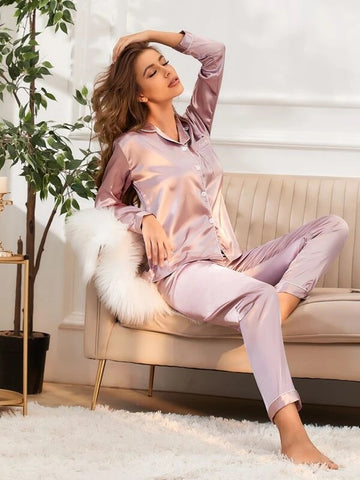 CM-PS104860 Women Casual Seoul Style Button Up Pocket Satin Pajama Set