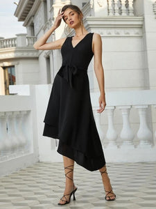 CM-DS225878 Women Casual Seoul Style Sleeveless Asymmetrical Hem Belted Dress - Black