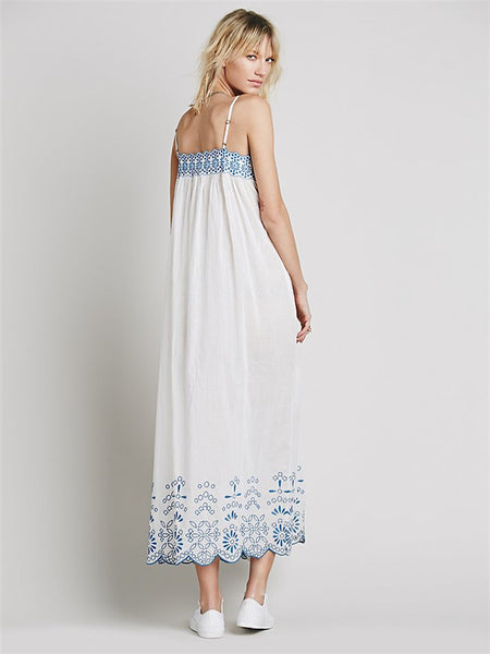 CM-DF070428 Women European Style Embroidery Button Open Straps Long Dress - White