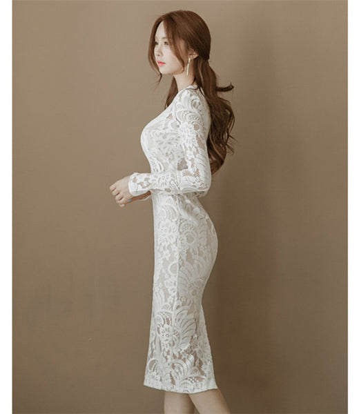 CM-DF082407 Women Elegant Seoul Style O-Neck Lace Floral Bodycon Dress - White