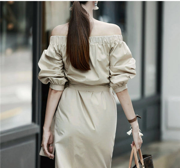 CM-DF091302 Women Casual Seoul Style Boat Neck Tying Waist Long Dress - Apricot