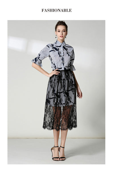 CM-SF100615 Women European Stylish Floral Stripes Blouse With Lace Long Skirt - Set