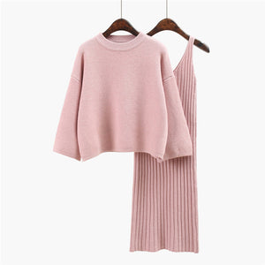 CM-SF101707 Women Seoul Style Pink Loosen Knitting Blouse With Sleeveless Dress - Set