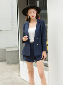 CM-SF110417 Women Trendy Seoul Style Navy Blue Double-Breasted Short Leisure Suit - Set