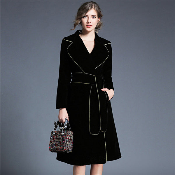 CM-CF110625 Women European Style Turn-Down Collar Tie Waist Long Coat - Black