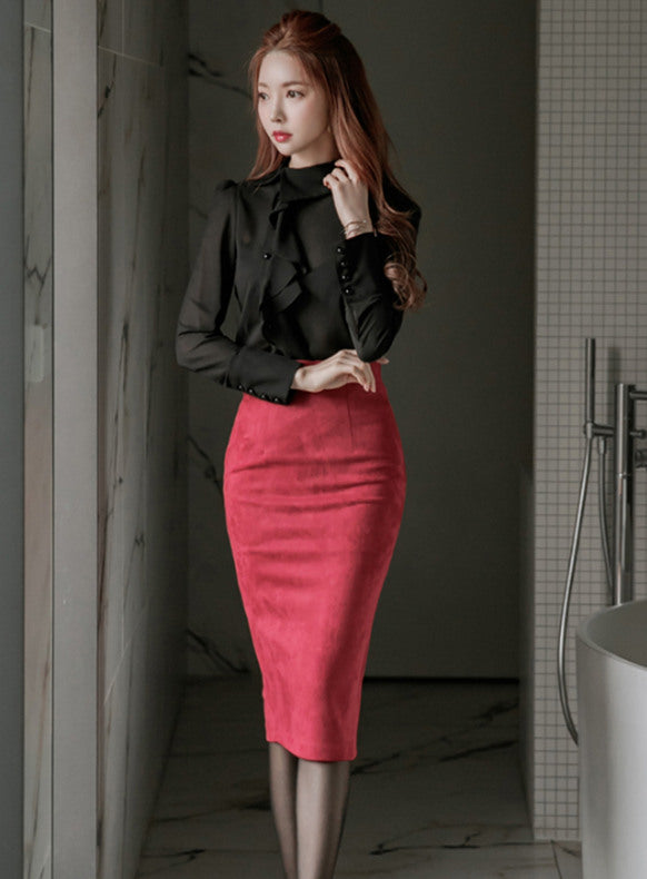 CM-SF111505 Women Elegant Flouncing Chiffon Blouse With Suede Midi Skirt - Set