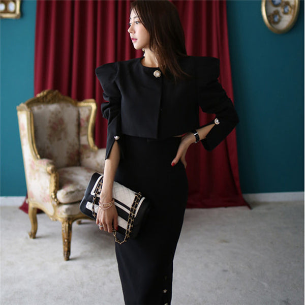 CM-SF112035 Women Elegant Mid-Sleeve Short Coat With Split Long Skirt - Set