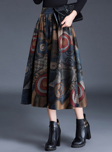CM-BF112311 Women Retro European Style Floral Printing Woolen Long Skirt