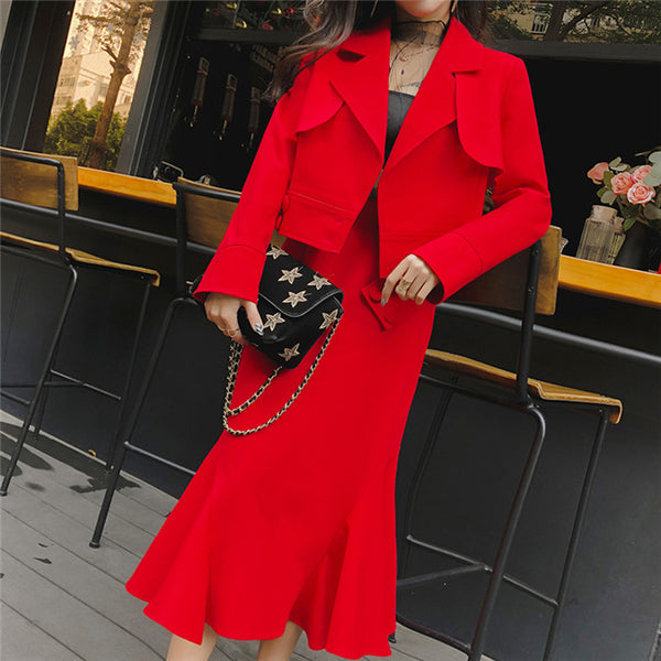CM-SF121307 Women Elegant European Style Tailored Collar Coat With Fishtail Long Skirt - Set
