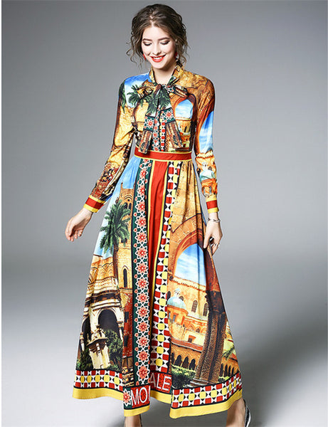 CM-DF122005 Women Elegant European Style Tie Collar High Waist Floral Maxi Dress