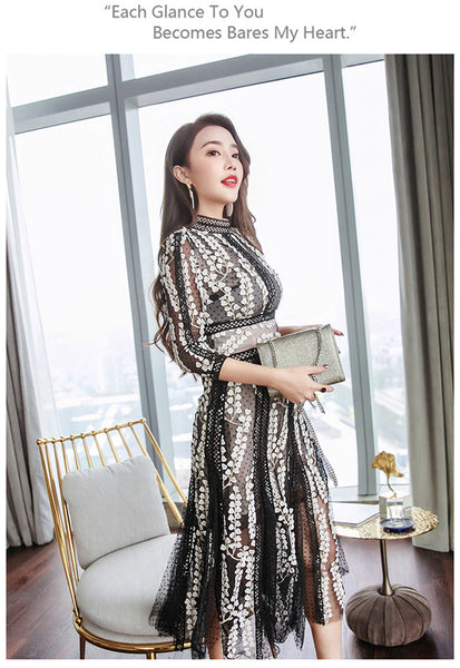 CM-EF122105 Women European Style Floral Embroidery Gauze Flouncing Dress