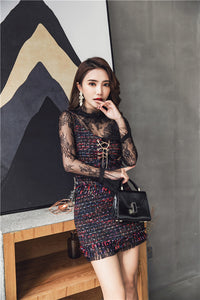 CM-SF010501 Women Elegant Lace Gauze Blouse With Tweed Tassels Dress - Set